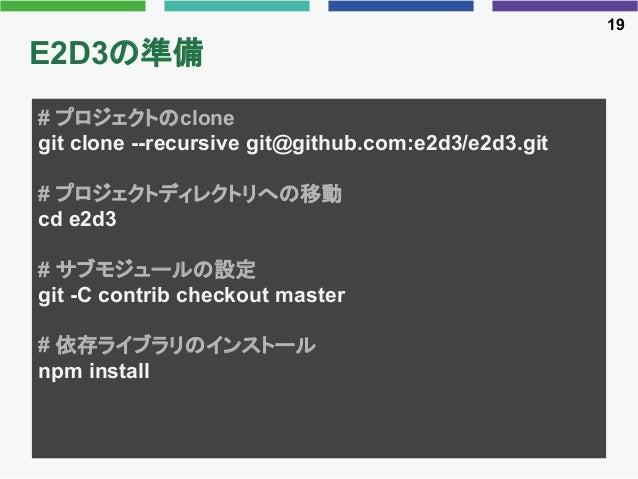 E2D3の準備 19 # プロジェクトのclone git clone --recursive git@github.com:e2d3/e2d3.git # プロジェクトディレクトリへの移動 cd e2d3 # サブモジュールの設定 git -...