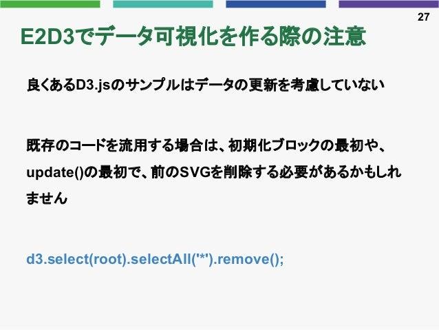 E2D3でデータ可視化を作る際の注意 良くあるD3.jsのサンプルはデータの更新を考慮していない 既存のコードを流用する場合は、初期化ブロックの最初や、 update()の最初で、前のSVGを削除する必要があるかもしれ ません d3.selec...