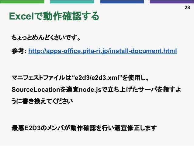 "Excelで動作確認する ちょっとめんどくさいです。 参考: http://apps-office.pita-ri.jp/install-document.html マニフェストファイルは""e2d3/e2d3.xml""を使用し、 SourceL..."