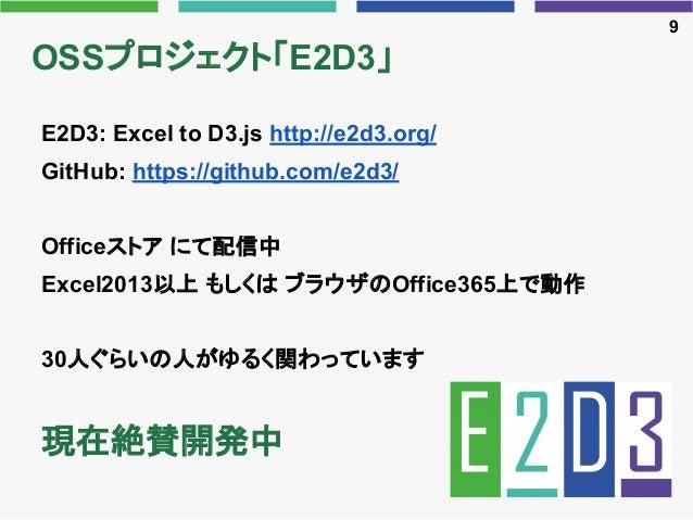 OSSプロジェクト「E2D3」 E2D3: Excel to D3.js http://e2d3.org/ GitHub: https://github.com/e2d3/ Officeストア にて配信中 Excel2013以上 もしくは ブラ...