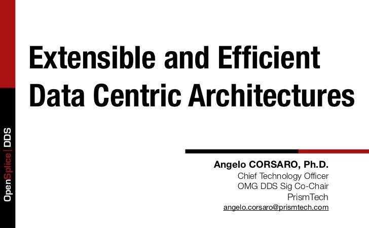 Extensible and Efficient                 Data Centric ArchitecturesOpenSplice DDS                               Angelo CORS...