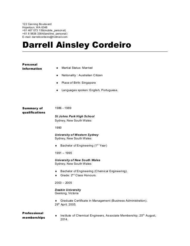 Personal Resume of Darrell CordeiroV3
