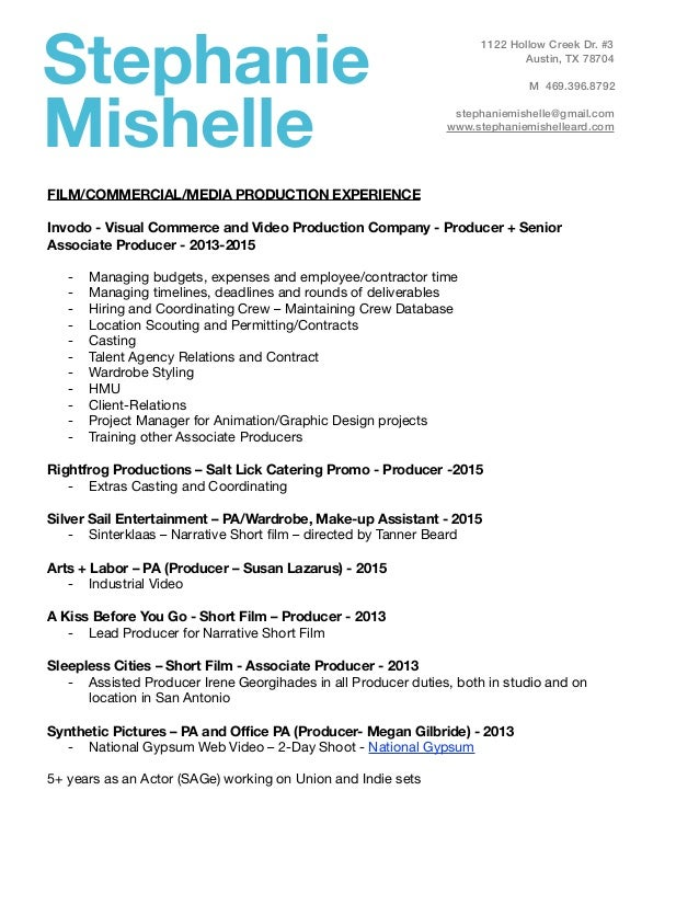 Stephanie Mishelle FILM/COMMERCIAL/MEDIA PRODUCTION EXPERIENCE ! Invodo -  Visual Commerce and Video ...