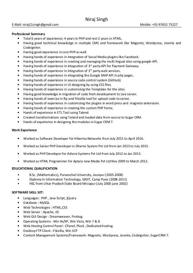 Niraj Singh E-Mail: niraj11singh@gmail.com Mobile: +91-97652 75227 Professional Summary • Total 6 years of experience; 4 y...