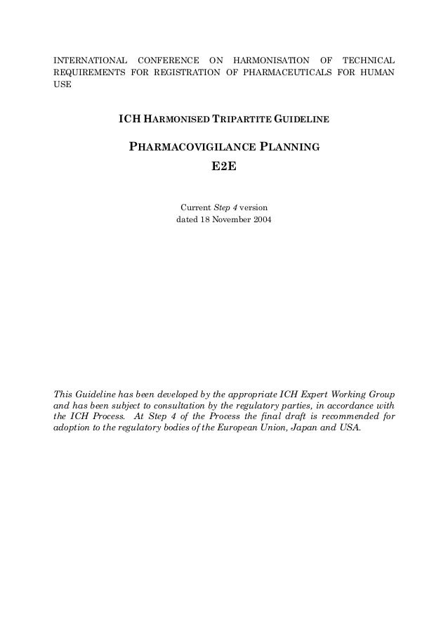 INTERNATIONAL CONFERENCE ON HARMONISATION OF TECHNICAL REQUIREMENTS FOR REGISTRATION OF PHARMACEUTICALS FOR HUMAN USE ICH ...