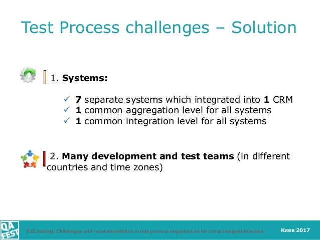 Киев 2017 Test Process challenges – Solution 1. Systems:  7 separate systems which integrated into 1 CRM  1 common aggre...
