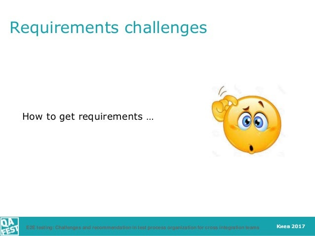 Киев 2017 Requirements challenges How to get requirements … E2E testing: Challenges and recommendation in test process org...