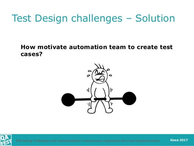 Киев 2017 How motivate automation team to create test cases? Test Design challenges – Solution E2E testing: Challenges and...