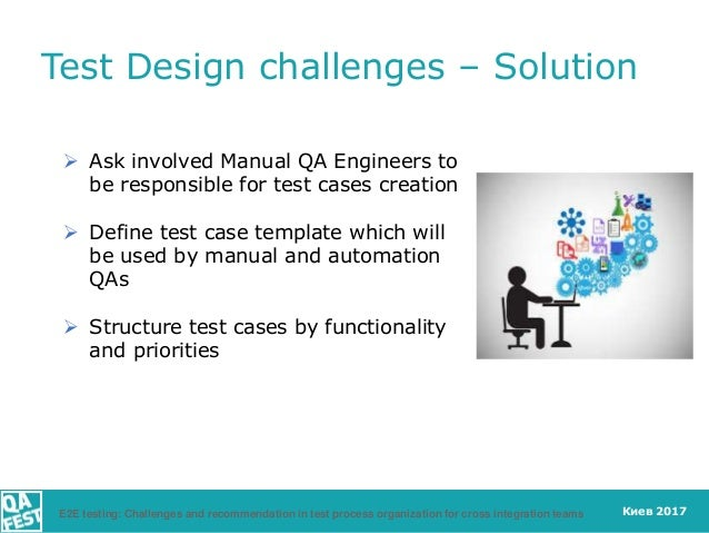 Киев 2017  Ask involved Manual QA Engineers to be responsible for test cases creation  Define test case template which w...