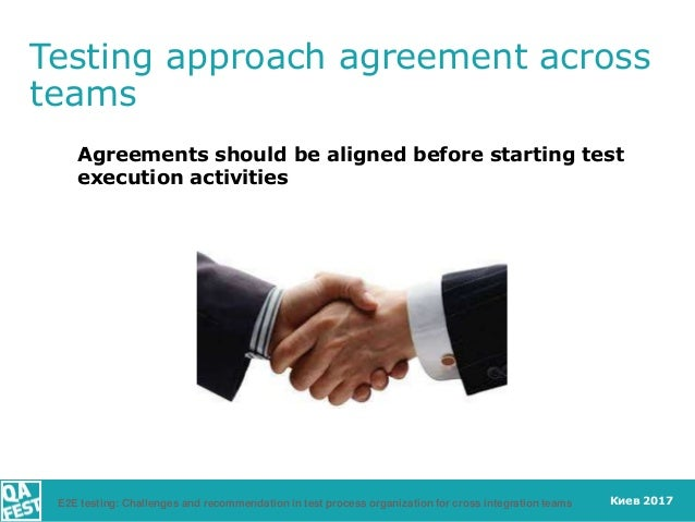 Киев 2017 Testing approach agreement across teams Agreements should be aligned before starting test execution activities E...