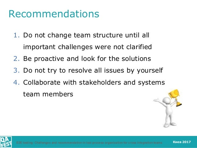 Киев 2017 Recommendations 1. Do not change team structure until all important challenges were not clarified 2. Be proactiv...