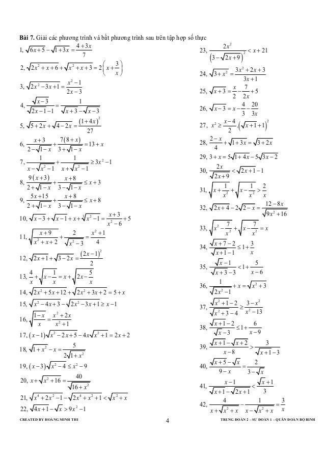 CREATED BY HOÀNG MINH THI TRUNG ĐOÀN 2 – SƯ ĐOÀN 1 – QUÂN ĐOÀN BỘ BINH4Bài 7. Giải các phương trình và bất phương trình sa...