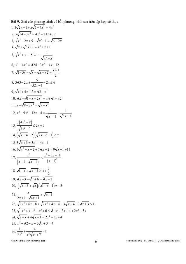 CREATED BY HOÀNG MINH THI TRUNG ĐOÀN 2 – SƯ ĐOÀN 1 – QUÂN ĐOÀN BỘ BINH6Bài 9. Giải các phương trình và bất phương trình sa...