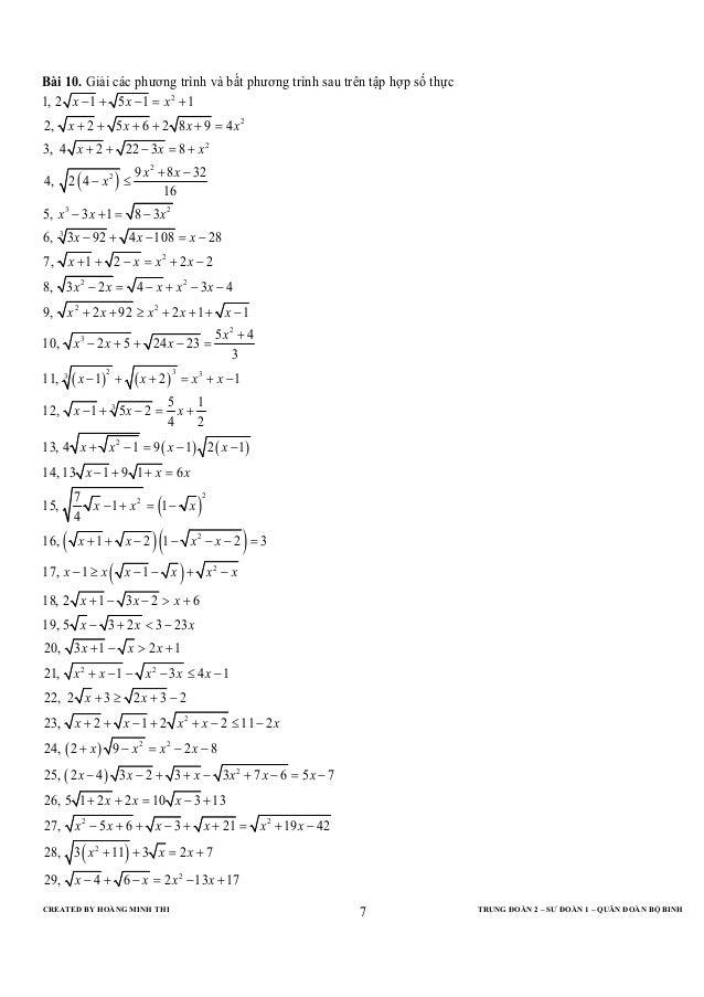 CREATED BY HOÀNG MINH THI TRUNG ĐOÀN 2 – SƯ ĐOÀN 1 – QUÂN ĐOÀN BỘ BINH7Bài 10. Giải các phương trình và bất phương trình s...