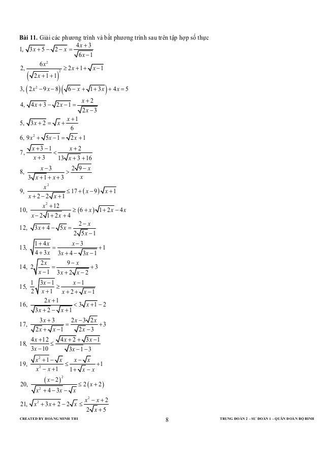 CREATED BY HOÀNG MINH THI TRUNG ĐOÀN 2 – SƯ ĐOÀN 1 – QUÂN ĐOÀN BỘ BINH8Bài 11. Giải các phương trình và bất phương trình s...