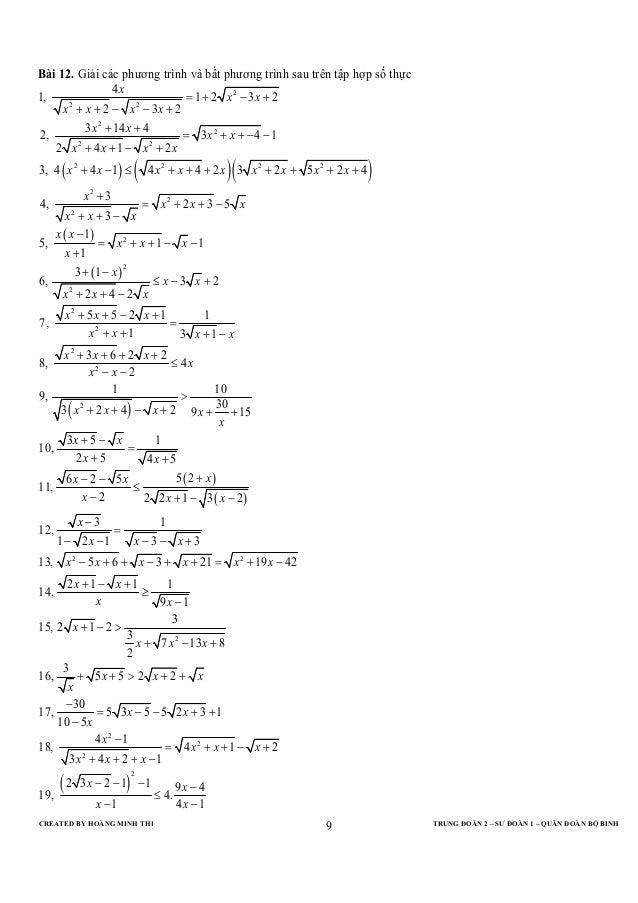 CREATED BY HOÀNG MINH THI TRUNG ĐOÀN 2 – SƯ ĐOÀN 1 – QUÂN ĐOÀN BỘ BINH9Bài 12. Giải các phương trình và bất phương trình s...