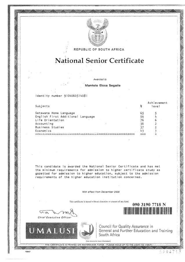 Elisa Segaile `s certificates