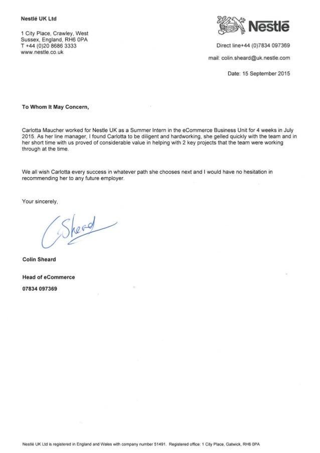 nestle recommendation letter 2015