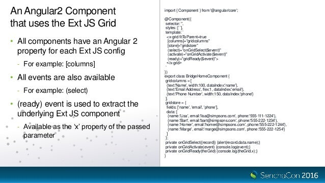 SenchaCon 2016: Want to Use Ext JS Components with Angular 2