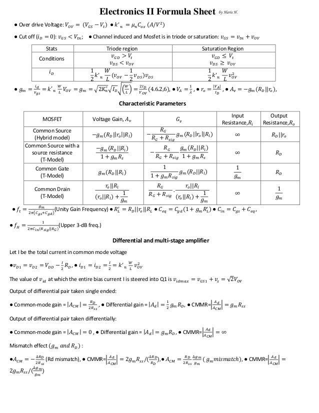 electronics formula sheet
