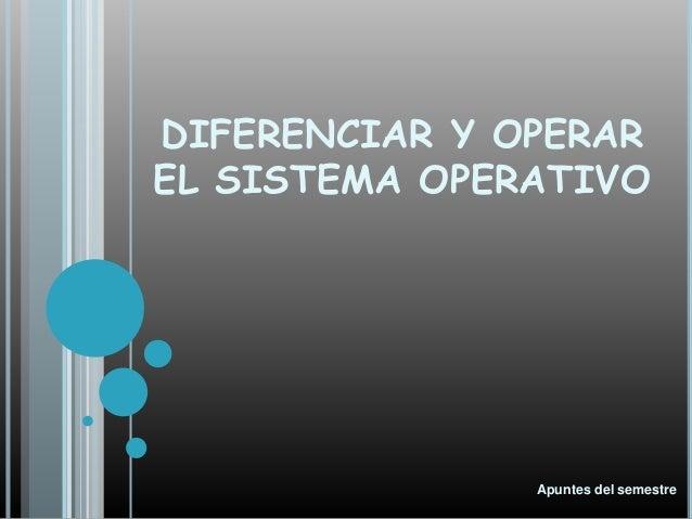 DIFERENCIAR Y OPERAR EL SISTEMA OPERATIVO Apuntes del semestre