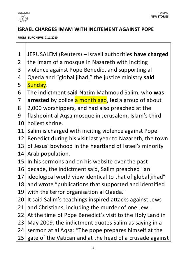 ENGLISH 3 READING NEW STORIES ISRAEL CHARGES IMAM WITH INCITEMENT AGAINST POPE FROM : EURONEWS, 7.11.2010 1 2 3 4 5 6 7 8 ...
