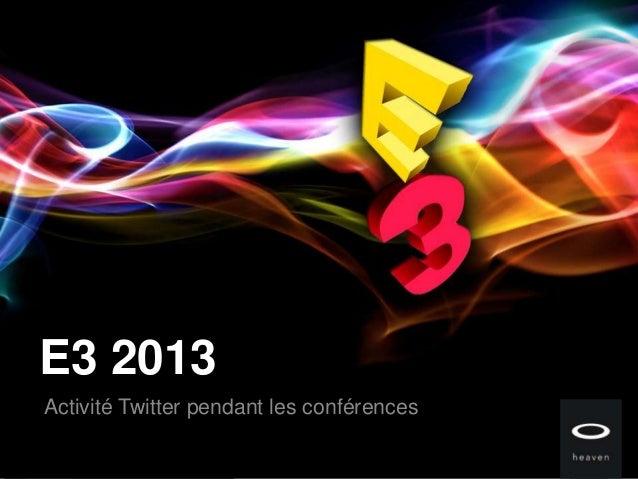 E3 2013Activité Twitter pendant les conférences