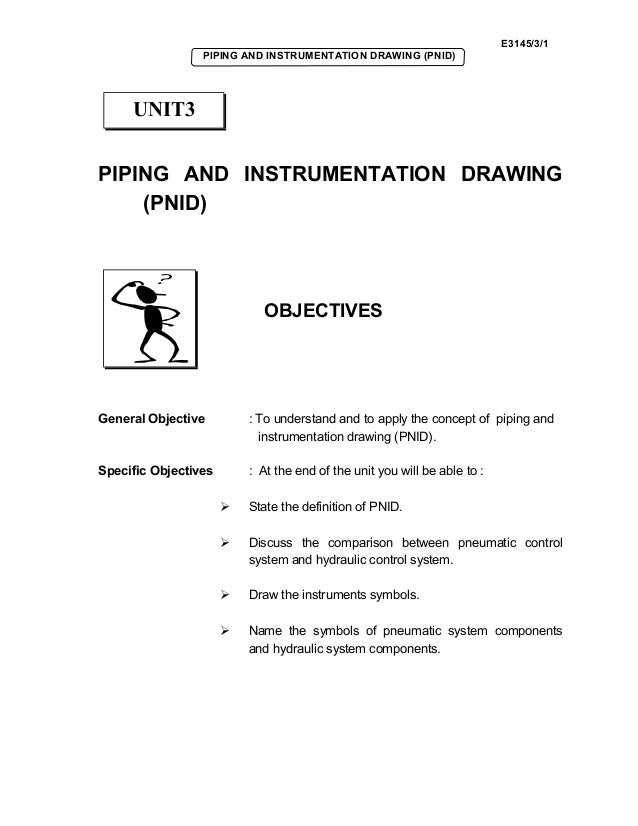 E3145/3/1 PIPING AND INSTRUMENTATION DRAWING (PNID) PIPING AND INSTRUMENTATION DRAWING (PNID) OBJECTIVES General Objective...