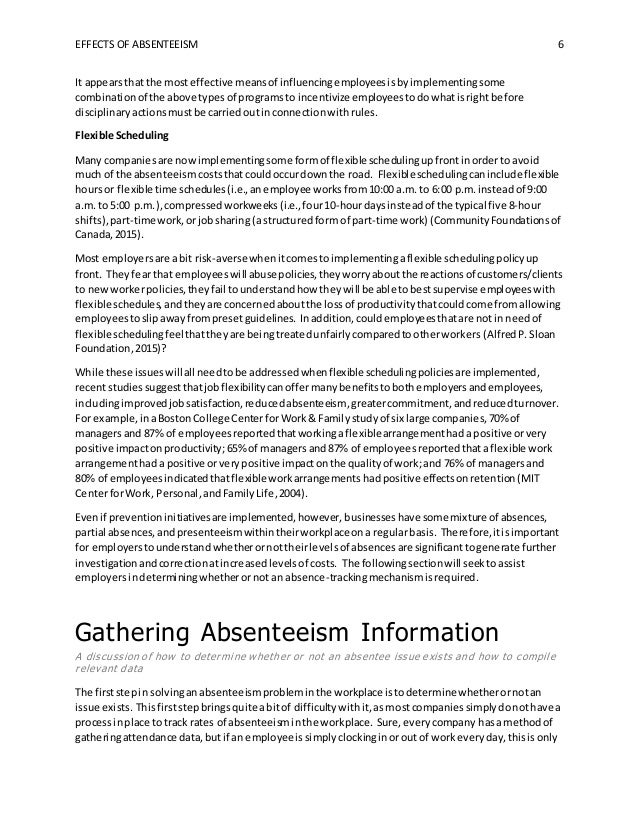 effects of absenteeism Absenteeism is a complete lost to the educational system according to the district management council (2004), teachers average approximately two weeks out of the classroom per year due to sick days, personal days, and.