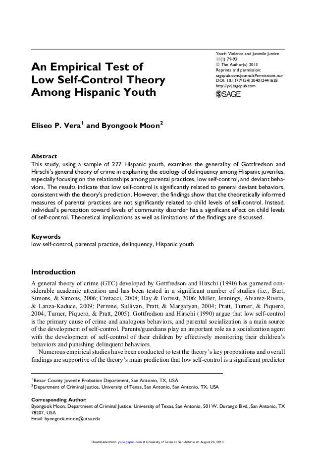 essays on self control theory Social bonding and control theories social control theory proposes a very different question from other theories ¨ self control theory argues that criminal propensities are established in childhood and that misconduct is stable throughout life.