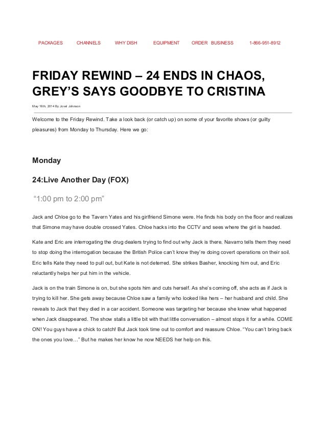 FRIDAY REWIND – 24 ENDS IN CHAOS, GREY\'S SAYS GOODBYE TO CRISTINA