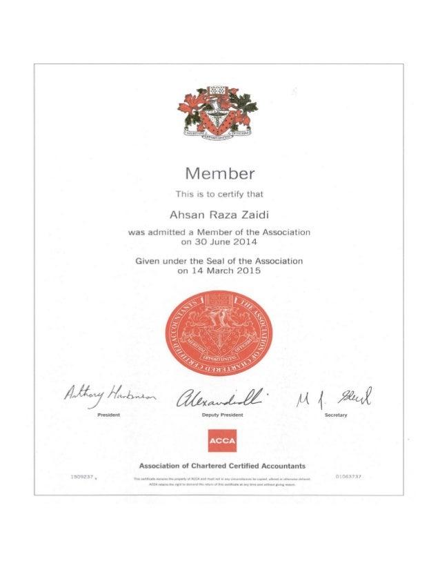acca member certificate
