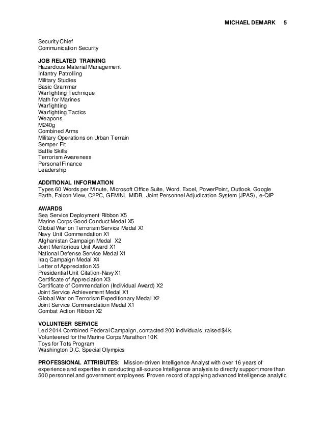 michael demark federal resume