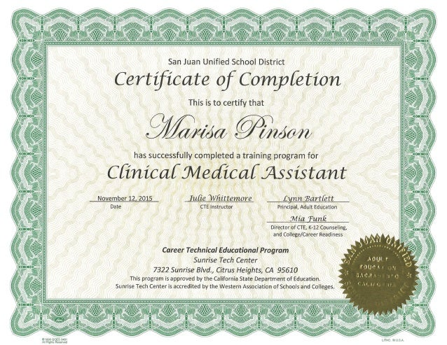 Marisa A. Pinson Clinical Medical Assistant Certificate Of Completion…