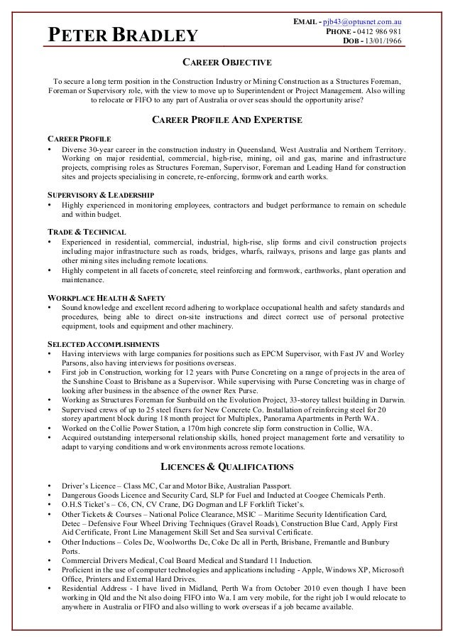 Peter Bradley Construction Resume