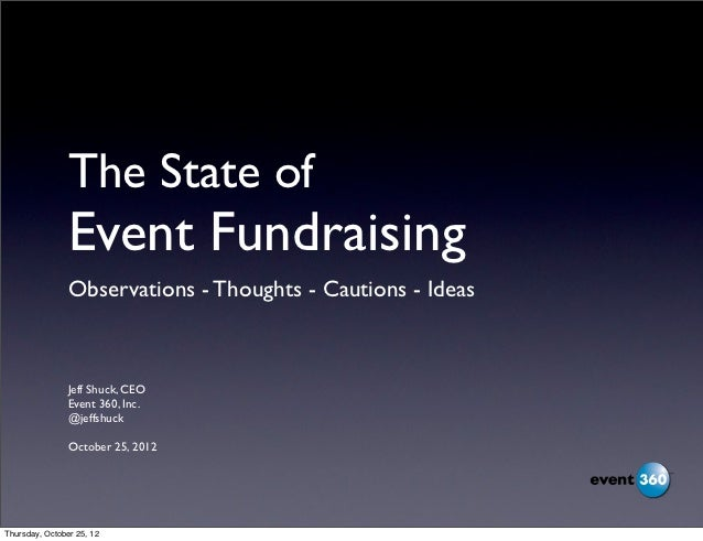 The State of                Event Fundraising                Observations - Thoughts - Cautions - Ideas                Jef...