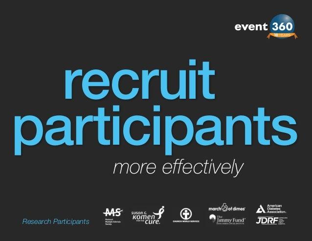 recruitparticipants                        more effectivelyResearch Participants