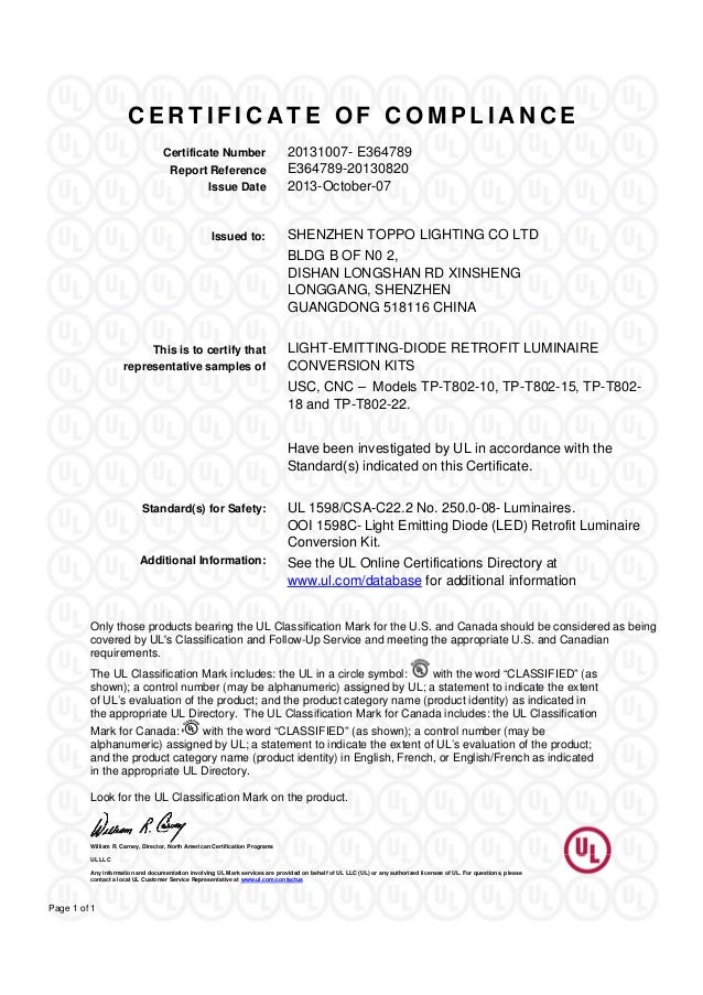 C E R T I F I C A T E O F C O M P L I A N C E Certificate Number 20131007   E364789 Report Reference E364789 20130820 Issue.