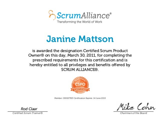 Certified Scrum Product Owner Certificate