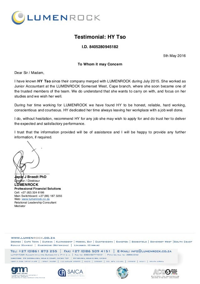 Lumenrock recommendation letter j breedt lumenrock recommendation letter j breedt testimonial hy tso id 8405280945182 5th may 2016 to whom it may concern dear sir expocarfo Choice Image