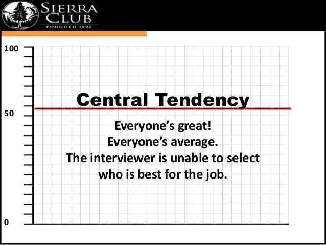 `  Central Tendency  Everyone's great!  Everyone's average.  The interviewer is unable to select  who is best for the job....