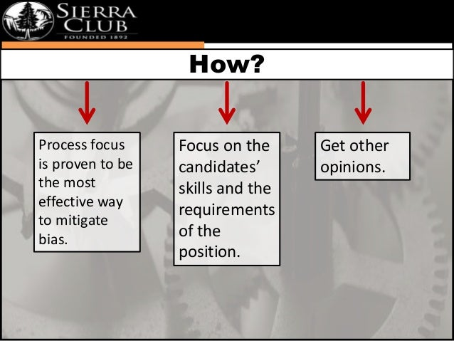 Process focus  is proven to be  the most  effective way  to mitigate  bias.  Focus on the  candidates'  skills and the  re...