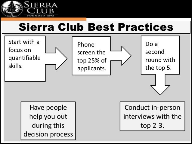 Sierra Club Best Practices  Conduct in-person  interviews with the  top 2-3.  Start with a  focus on  quantifiable  skills...