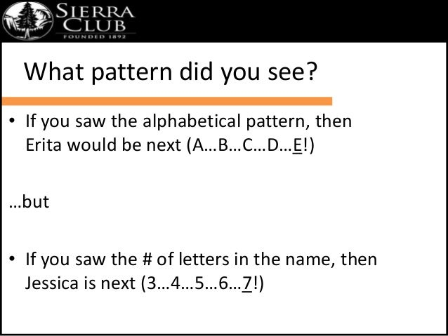 What pattern did you see?  • If you saw the alphabetical pattern, then  Erita would be next (A…B…C…D…E!)  …but  • If you s...