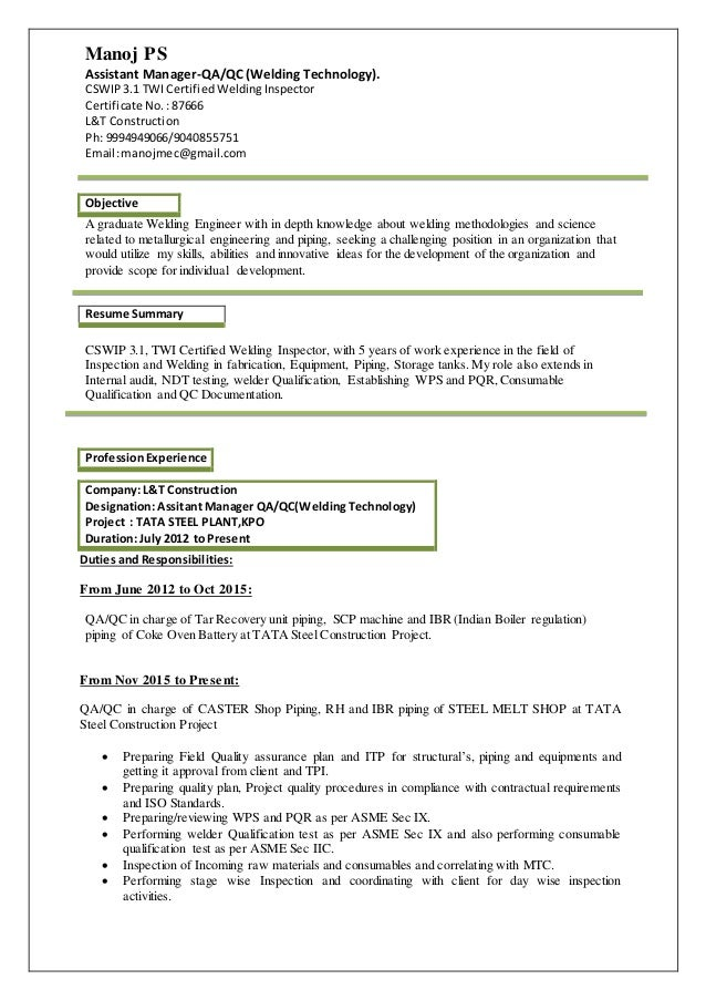 Manoj Ps Welding Engineer Resume