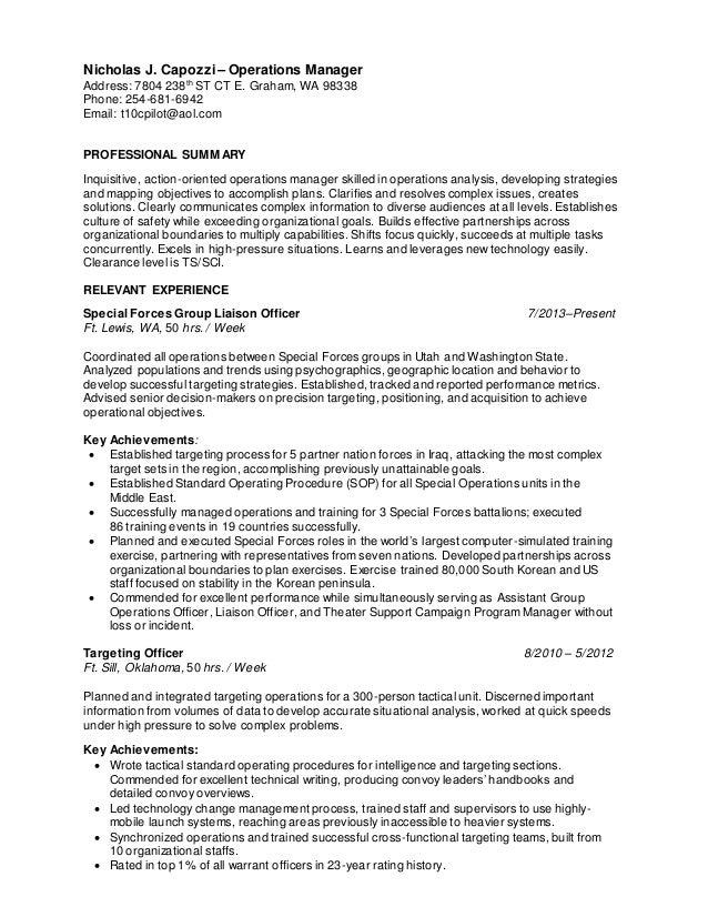 Nicholas J. Capozzi U2013 Operations Manager Address: 7804 238th ST CT E.  Graham ...  Ats Resume