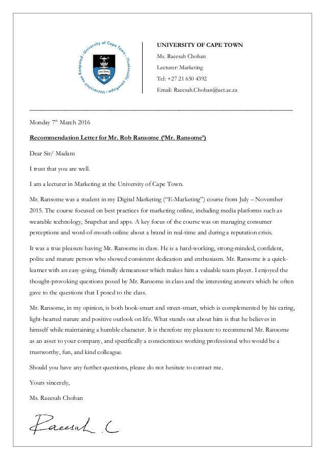 University Of Cape Town Letter Of Recomendation