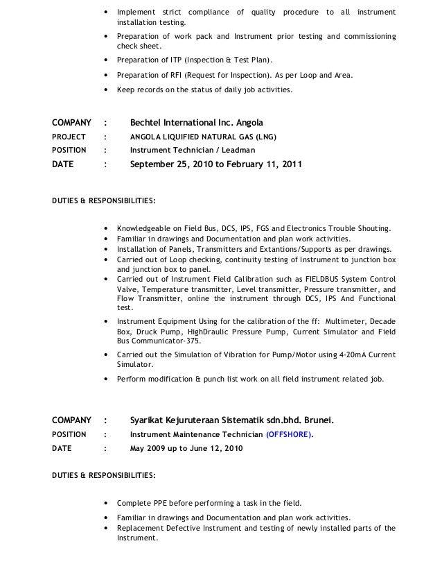 Instrumentation Technician Resume - Contegri.com