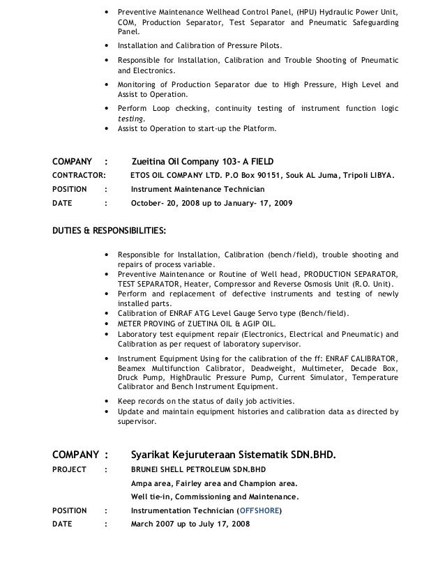 instrument technician for maintenance new. Resume Example. Resume CV Cover Letter