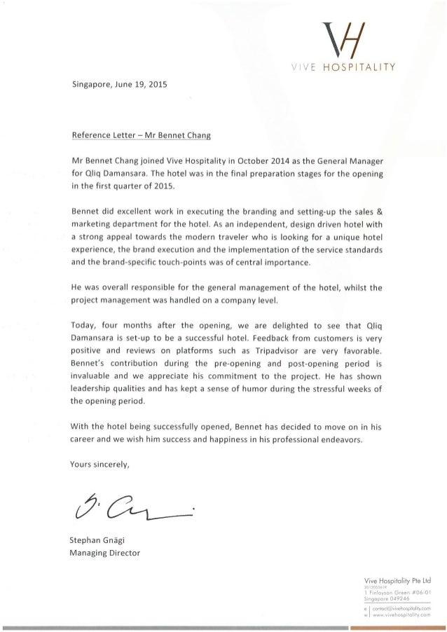 Reference Letter VIVE Hospitality